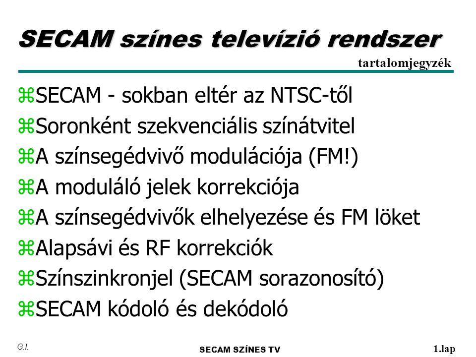 SECAM színes televízió rendszer zSECAM - sokban eltér az NTSC-től zSoronként szekvenciális színátvitel zA színsegédvivő modulációja (FM!) zA moduláló jelek korrekciója zA színsegédvivők elhelyezése és FM löket zAlapsávi és RF korrekciók zSzínszinkronjel (SECAM sorazonosító) zSECAM kódoló és dekódoló tartalomjegyzék SECAM SZÍNES TV 1.lap G.I.