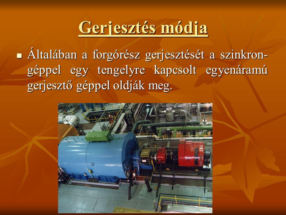 Gerjesztés módja Általában a forgórész gerjesztését a szinkron- géppel egy tengelyre kapcsolt egyenáramú gerjesztő géppel oldják meg. Általában a forg