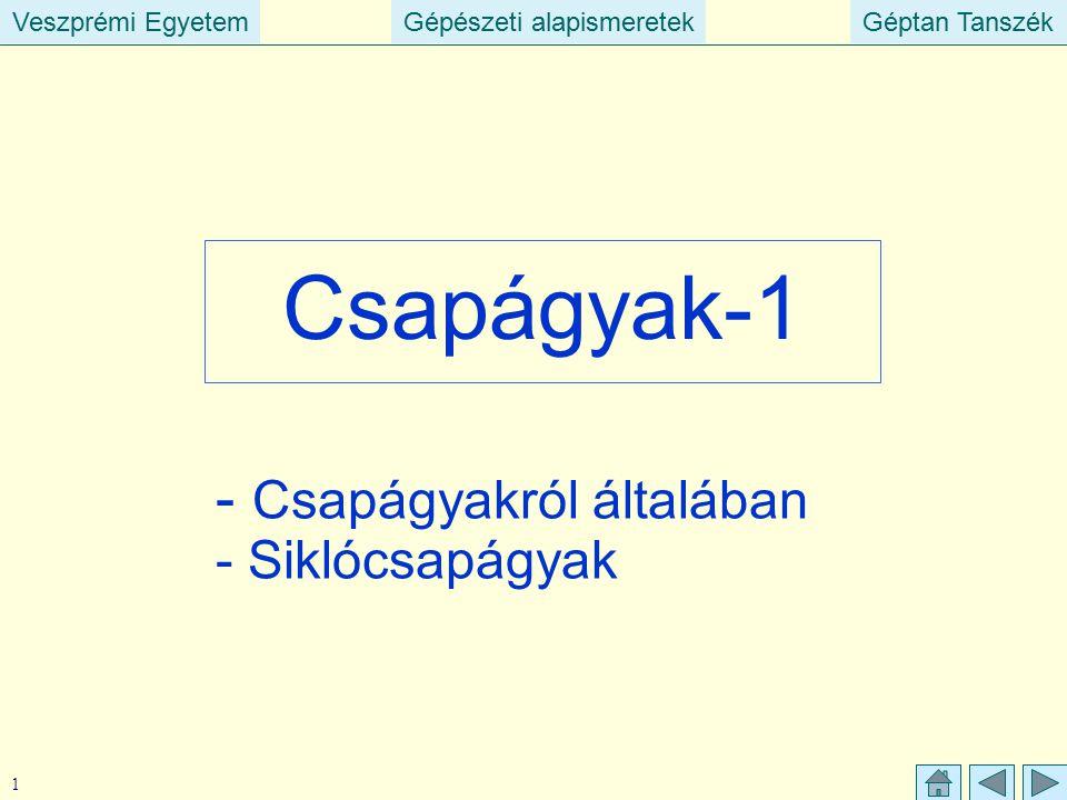Veszprémi EgyetemGépészeti alapismeretekGéptan TanszékVeszprémi EgyetemGépészeti alapismeretekGéptan Tanszék 1 Csapágyak-1 - Csapágyakról általában -