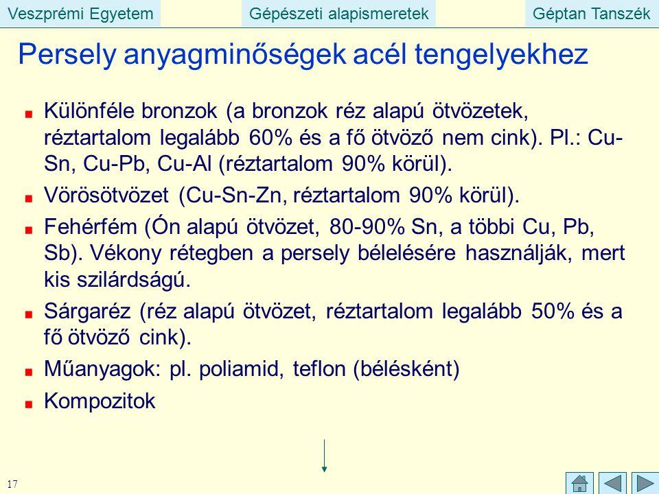 Veszprémi EgyetemGépészeti alapismeretekGéptan TanszékVeszprémi EgyetemGépészeti alapismeretekGéptan Tanszék 17 Különféle bronzok (a bronzok réz alapú
