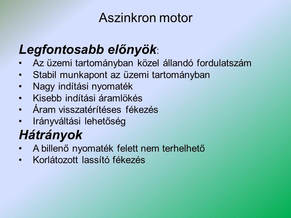 Aszinkron motor Legfontosabb előnyök : Az üzemi tartományban közel állandó fordulatszám Stabil munkapont az üzemi tartományban Nagy indítási nyomaték