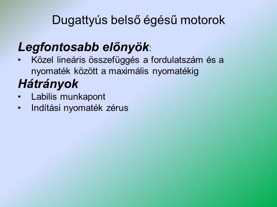 Dugattyús belső égésű motorok Legfontosabb előnyök : Közel lineáris összefüggés a fordulatszám és a nyomaték között a maximális nyomatékig Hátrányok L