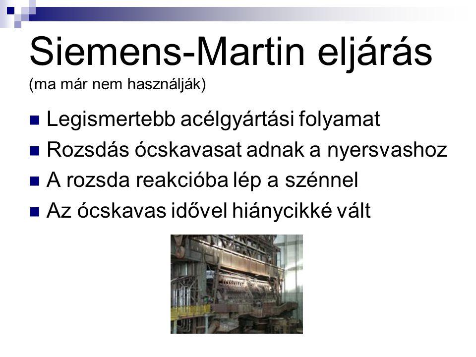 Siemens-Martin eljárás (ma már nem használják) Legismertebb acélgyártási folyamat Rozsdás ócskavasat adnak a nyersvashoz A rozsda reakcióba lép a szén
