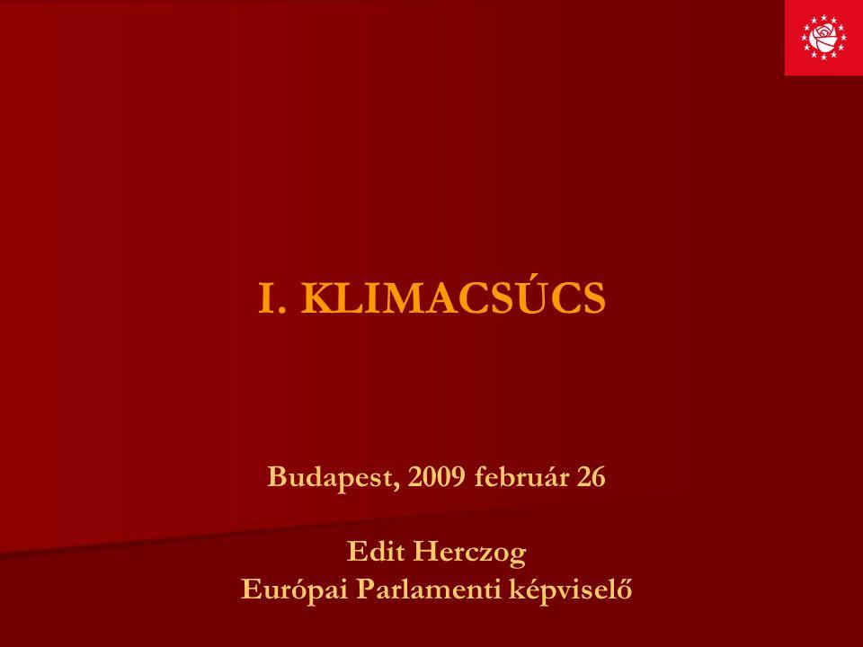 I. KLIMACSÚCS Budapest, 2009 február 26 Edit Herczog Európai Parlamenti képviselő