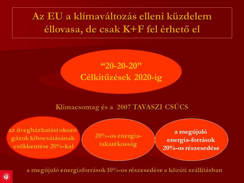 CO2 Csökkentés Primer energia hordozók Primer energia hordozók Secunder energia termelés Secunder energia termelés Energia szállitás Energia szállitás Energia felhasználás Energia felhasználás –Tovább felhasználók –Végfelhasználók K+F minden egyes fázisban K+F minden egyes fázisban