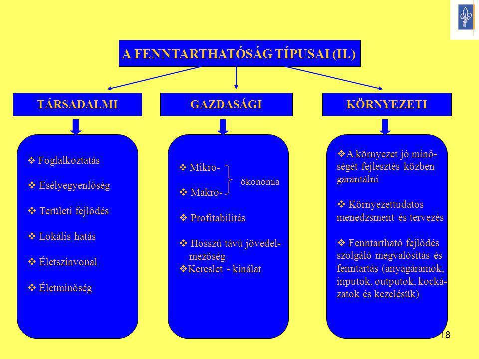 18 A FENNTARTHATÓSÁG TÍPUSAI (II.) TÁRSADALMIGAZDASÁGIKÖRNYEZETI  Foglalkoztatás  Esélyegyenlőség  Területi fejlődés  Lokális hatás  Életszínvona