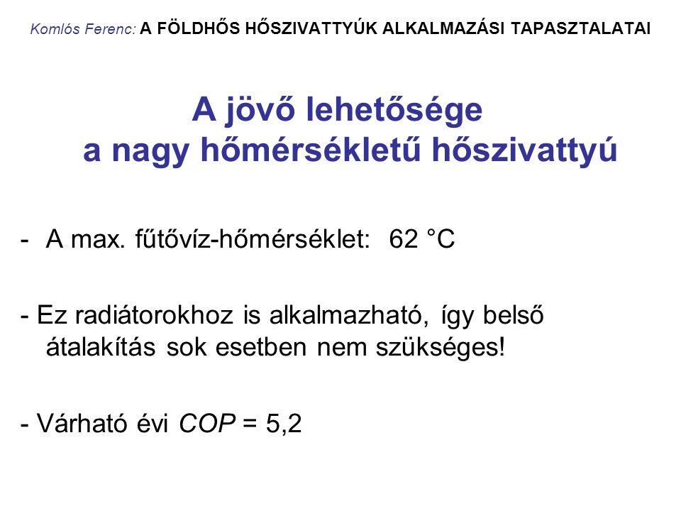 Komlós Ferenc: A FÖLDHŐS HŐSZIVATTYÚK ALKALMAZÁSI TAPASZTALATAI A jövő lehetősége a nagy hőmérsékletű hőszivattyú -A max. fűtővíz-hőmérséklet: 62 °C -