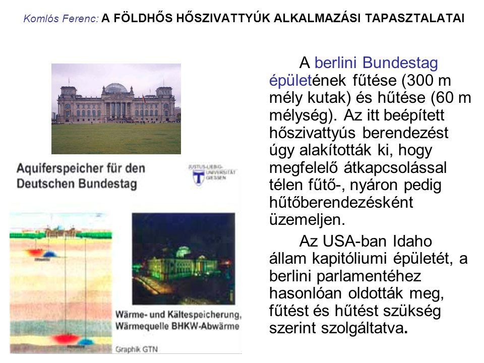 Komlós Ferenc: A FÖLDHŐS HŐSZIVATTYÚK ALKALMAZÁSI TAPASZTALATAI A berlini Bundestag épületének fűtése (300 m mély kutak) és hűtése (60 m mélység). Az