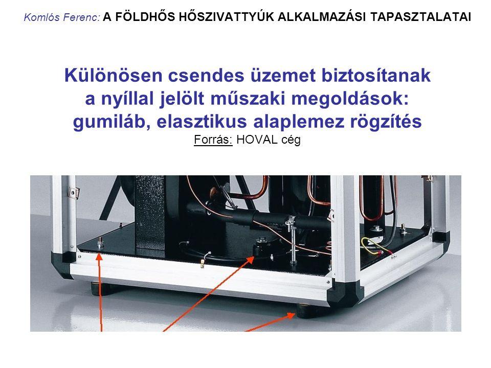 Komlós Ferenc: A FÖLDHŐS HŐSZIVATTYÚK ALKALMAZÁSI TAPASZTALATAI Különösen csendes üzemet biztosítanak a nyíllal jelölt műszaki megoldások: gumiláb, el