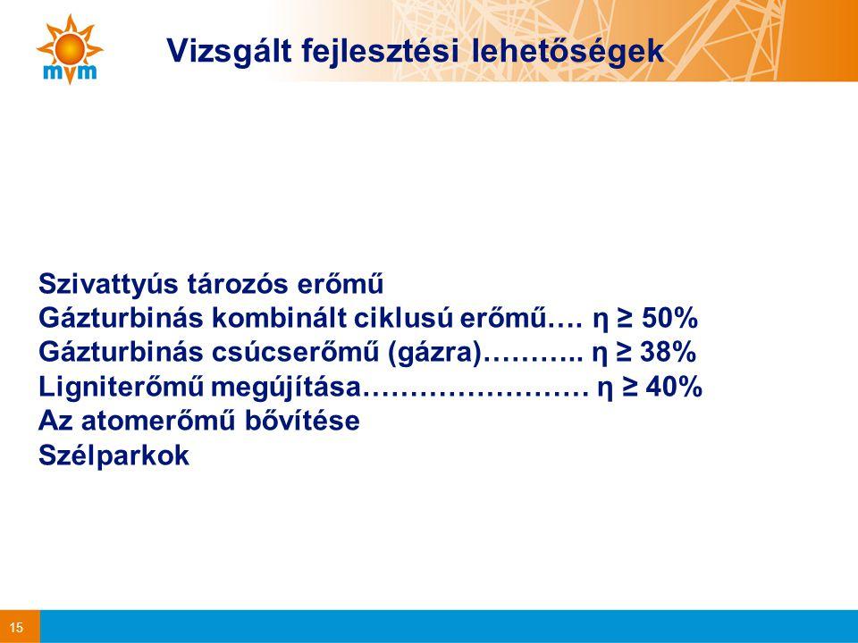 15 Vizsgált fejlesztési lehetőségek Szivattyús tározós erőmű Gázturbinás kombinált ciklusú erőmű….