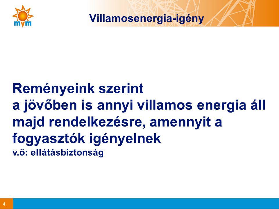 4 Villamosenergia-igény Reményeink szerint a jövőben is annyi villamos energia áll majd rendelkezésre, amennyit a fogyasztók igényelnek v.ö: ellátásbiztonság