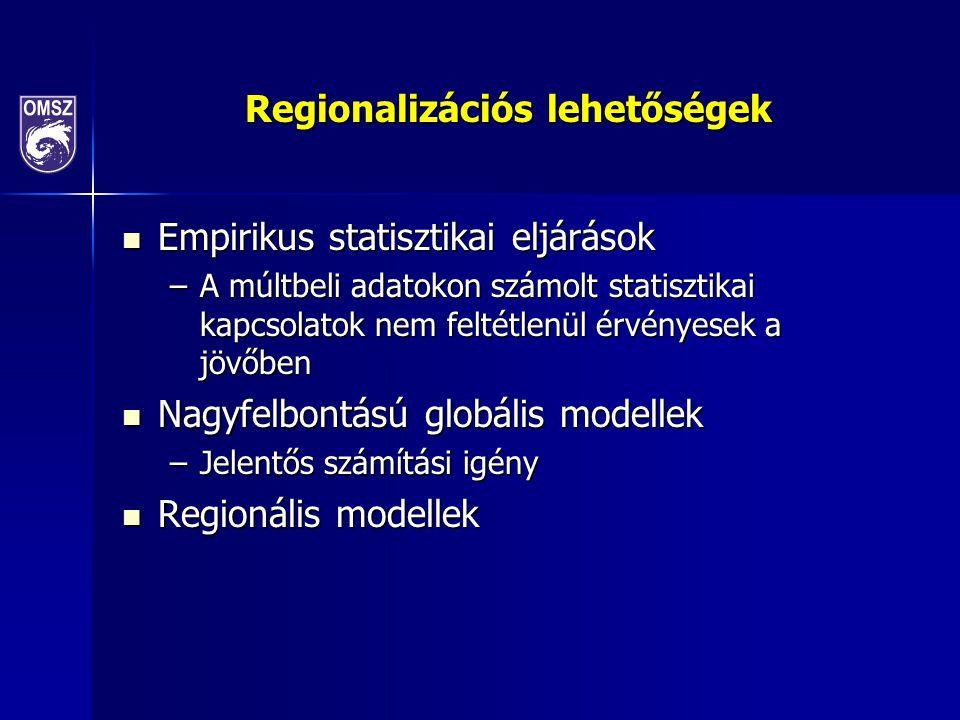 Regionalizációs lehetőségek Empirikus statisztikai eljárások Empirikus statisztikai eljárások –A múltbeli adatokon számolt statisztikai kapcsolatok nem feltétlenül érvényesek a jövőben Nagyfelbontású globális modellek Nagyfelbontású globális modellek –Jelentős számítási igény Regionális modellek Regionális modellek