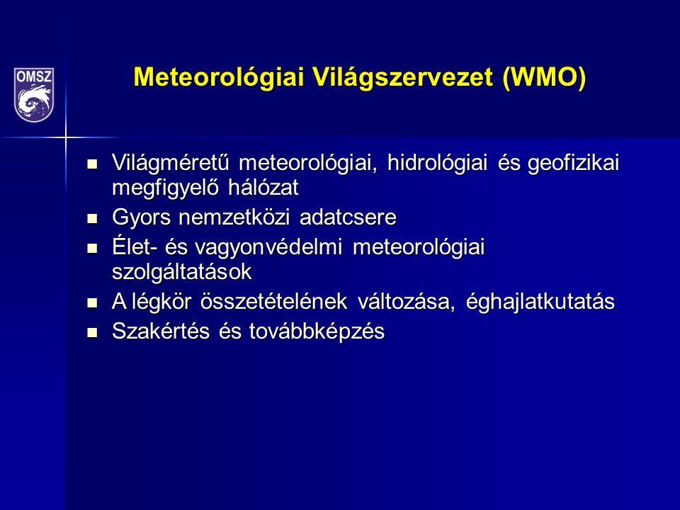 Meteorológiai Világszervezet (WMO) Világméretű meteorológiai, hidrológiai és geofizikai megfigyelő hálózat Világméretű meteorológiai, hidrológiai és geofizikai megfigyelő hálózat Gyors nemzetközi adatcsere Gyors nemzetközi adatcsere Élet- és vagyonvédelmi meteorológiai szolgáltatások Élet- és vagyonvédelmi meteorológiai szolgáltatások A légkör összetételének változása, éghajlatkutatás A légkör összetételének változása, éghajlatkutatás Szakértés és továbbképzés Szakértés és továbbképzés