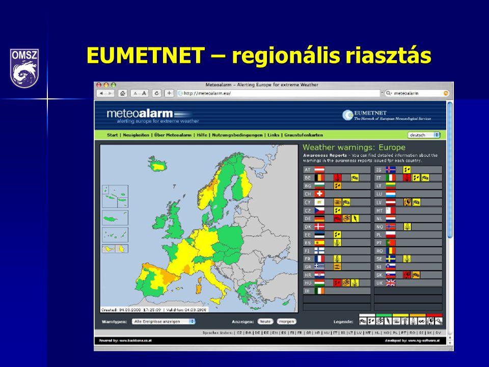 EUMETNET – regionális riasztás