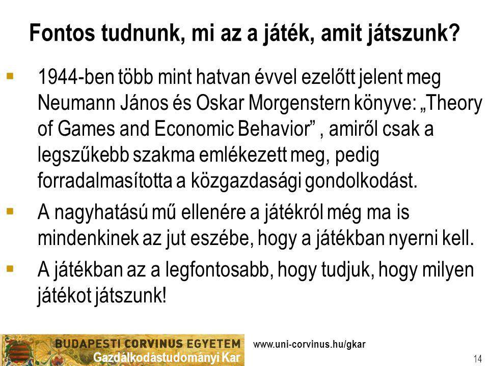 Gazdálkodástudományi Kar www.uni-corvinus.hu/gkar 14 Fontos tudnunk, mi az a játék, amit játszunk.