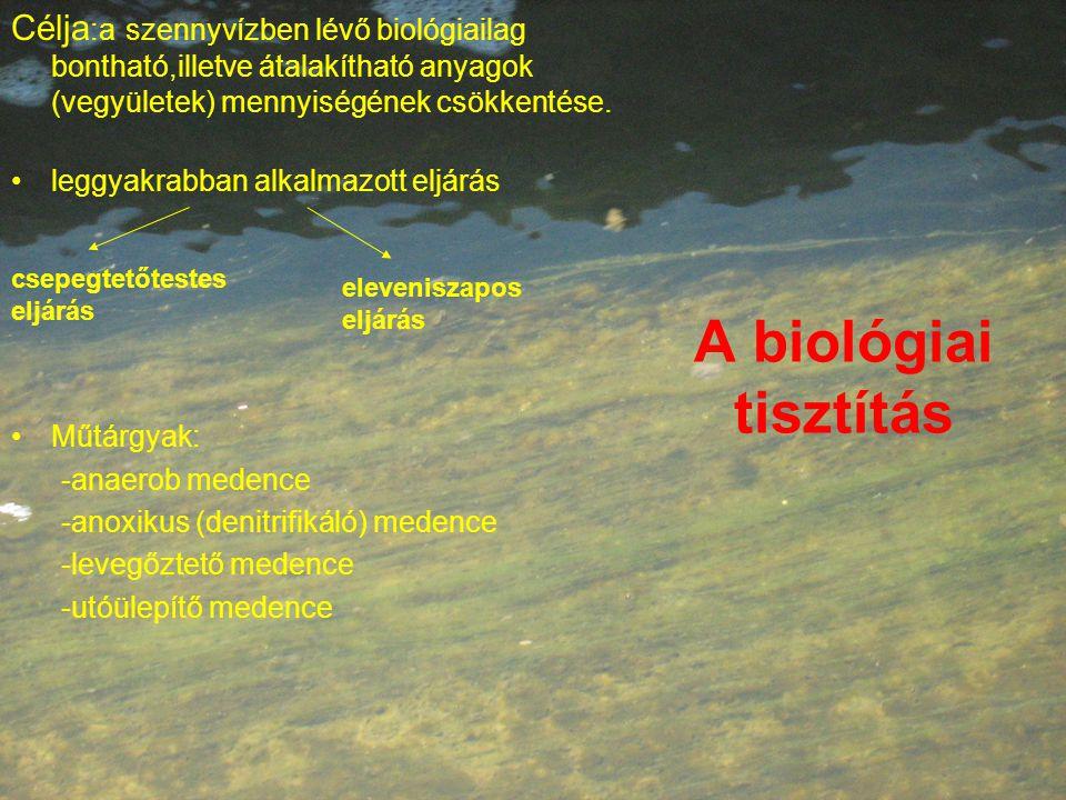 A biológiai tisztítás Célja :a szennyvízben lévő biológiailag bontható,illetve átalakítható anyagok (vegyületek) mennyiségének csökkentése.