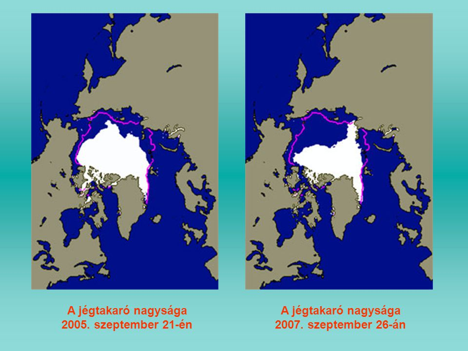 A jégtakaró nagysága 2007. szeptember 26-án A jégtakaró nagysága 2005. szeptember 21-én