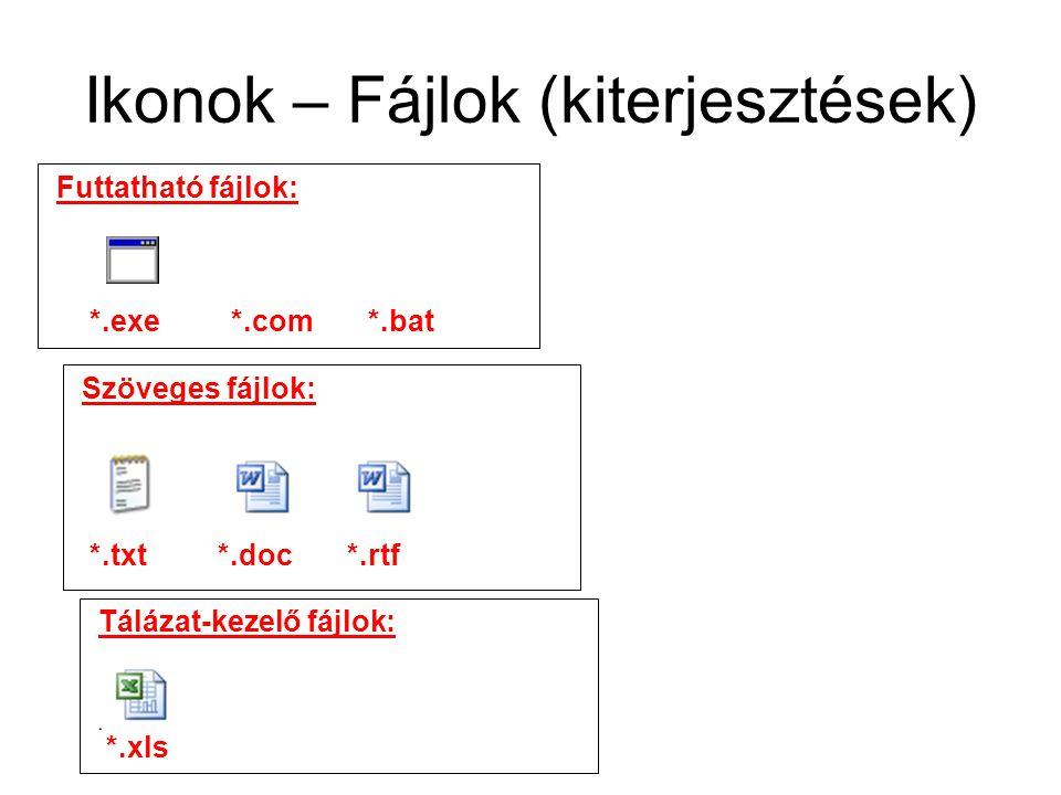 Ikonok – Fájlok (kiterjesztések) Futtatható fájlok: *.exe *.com *.bat Szöveges fájlok: *.xls Tálázat-kezelő fájlok: *.txt *.doc *.rtf