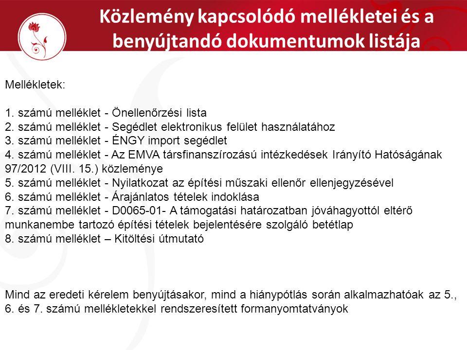 Közlemény kapcsolódó mellékletei és a benyújtandó dokumentumok listája Mellékletek: 1.