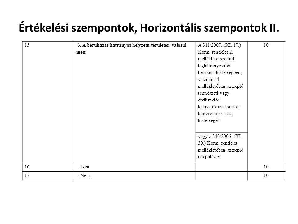 Értékelési szempontok, Horizontális szempontok II. 15 3. A beruházás hátrányos helyzetű területen valósul meg: A 311/2007. (XI. 17.) Korm. rendelet 2.