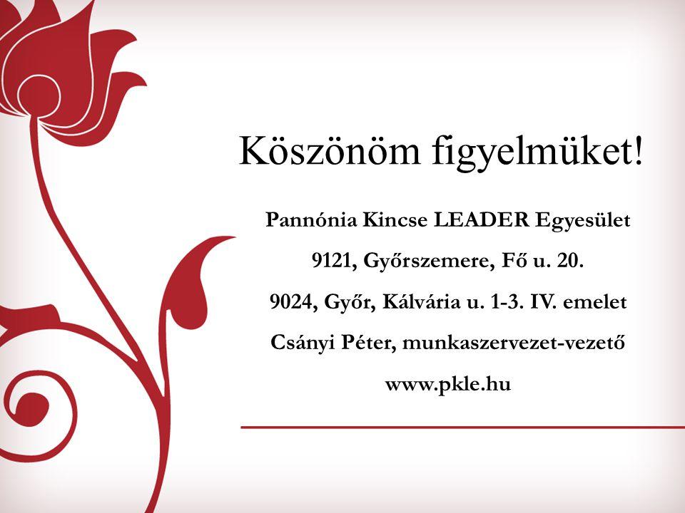 Köszönöm figyelmüket! Pannónia Kincse LEADER Egyesület 9121, Győrszemere, Fő u. 20. 9024, Győr, Kálvária u. 1-3. IV. emelet Csányi Péter, munkaszervez