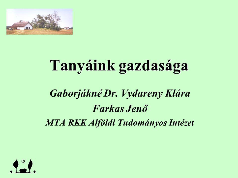 Tanyáink gazdasága Gaborjákné Dr. Vydareny Klára Farkas Jenő MTA RKK Alföldi Tudományos Intézet