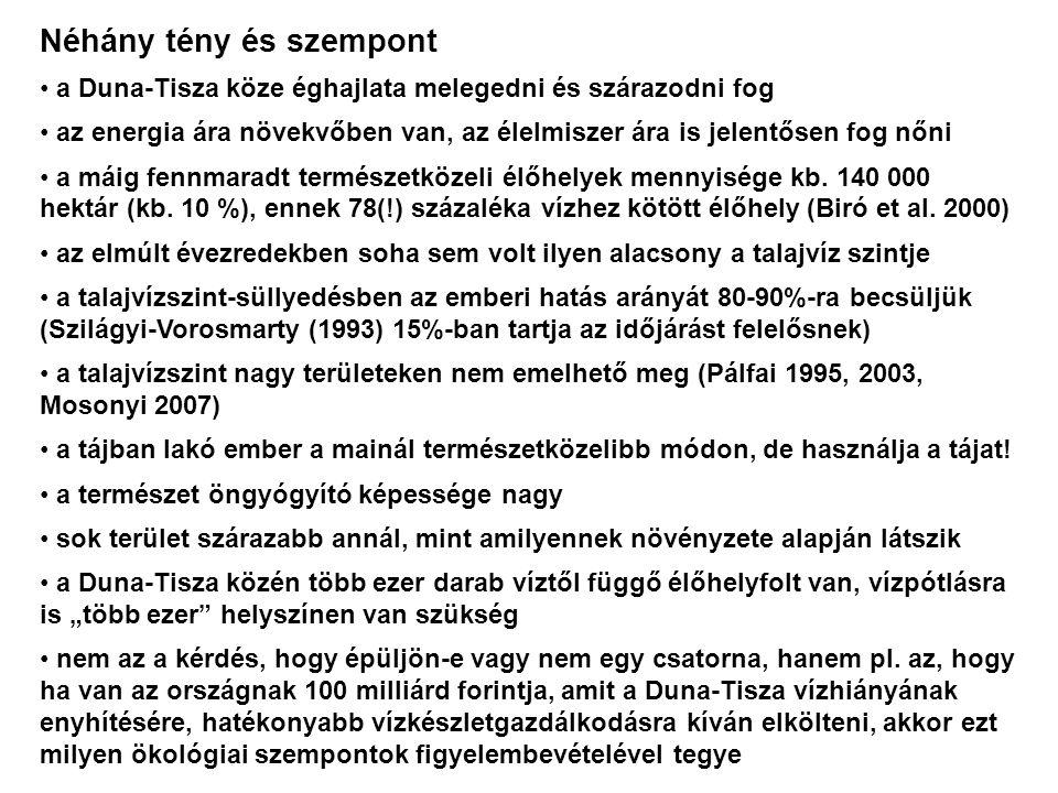 Véleményünk, javaslataink és indoklásuk egy nagy csatorna nem oldja meg a táj vízhiányából adódó problémákat nem javasljuk egy, a Tisza-völgy vízpótlását célzó csatorna építését sem egyetértünk Pálfai Imrével (Pálfai 2003) a legfontosabb teendőkben: 1.