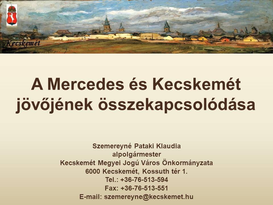A Mercedes és Kecskemét jövőjének összekapcsolódása Szemereyné Pataki Klaudia alpolgármester Kecskemét Megyei Jogú Város Önkormányzata 6000 Kecskemét,