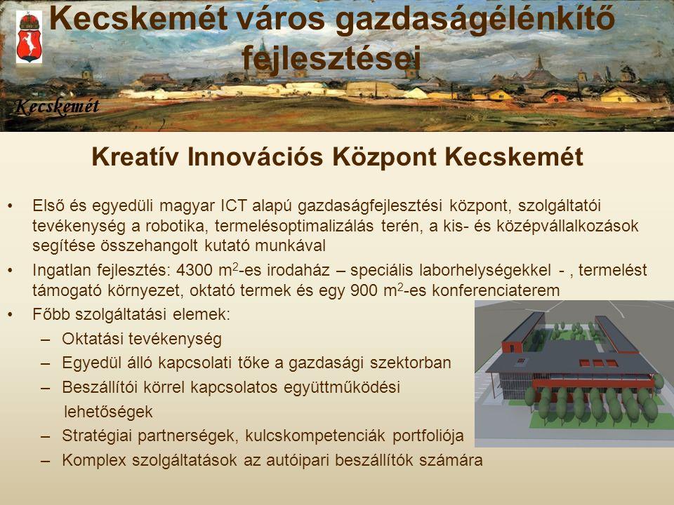 Kreatív Innovációs Központ Kecskemét Első és egyedüli magyar ICT alapú gazdaságfejlesztési központ, szolgáltatói tevékenység a robotika, termelésoptim