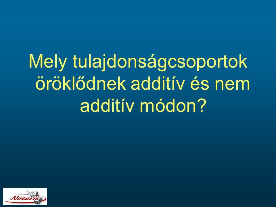 Mely tulajdonságcsoportok öröklődnek additív és nem additív módon?