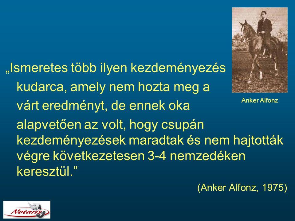 """""""Ismeretes több ilyen kezdeményezés kudarca, amely nem hozta meg a várt eredményt, de ennek oka alapvetően az volt, hogy csupán kezdeményezések maradtak és nem hajtották végre következetesen 3-4 nemzedéken keresztül. (Anker Alfonz, 1975) Anker Alfonz"""