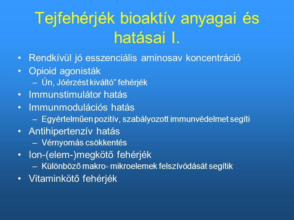 Tejfehérjék bioaktív anyagai és hatásai I.
