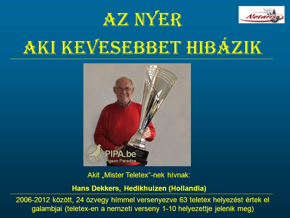 """Az nyer aki kevesebbet hibázik Akit """"Mister Teletex""""-nek hívnak: Hans Dekkers, Hedikhuizen (Hollandia) 2006-2012 között, 24 özvegy hímmel versenyezve"""