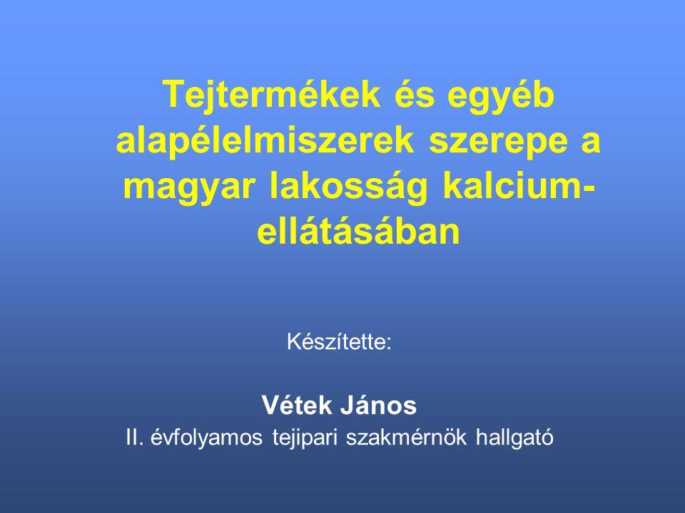 Tejtermékek és egyéb alapélelmiszerek szerepe a magyar lakosság kalcium- ellátásában Készítette: Vétek János II.