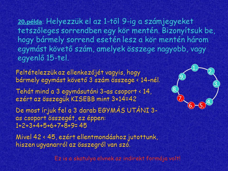 20.példa: Helyezzük el az 1-től 9-ig a számjegyeket tetszőleges sorrendben egy kör mentén.