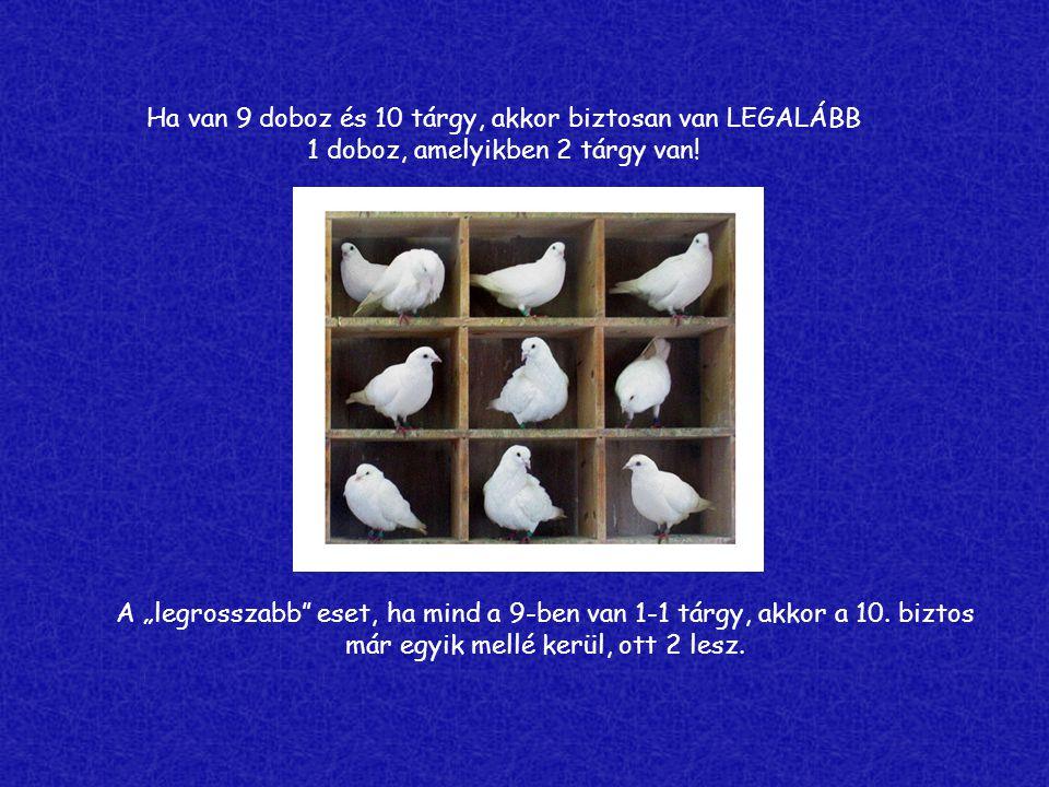 """Ha van 9 doboz és 10 tárgy, akkor biztosan van LEGALÁBB 1 doboz, amelyikben 2 tárgy van! A """"legrosszabb"""" eset, ha mind a 9-ben van 1-1 tárgy, akkor a"""