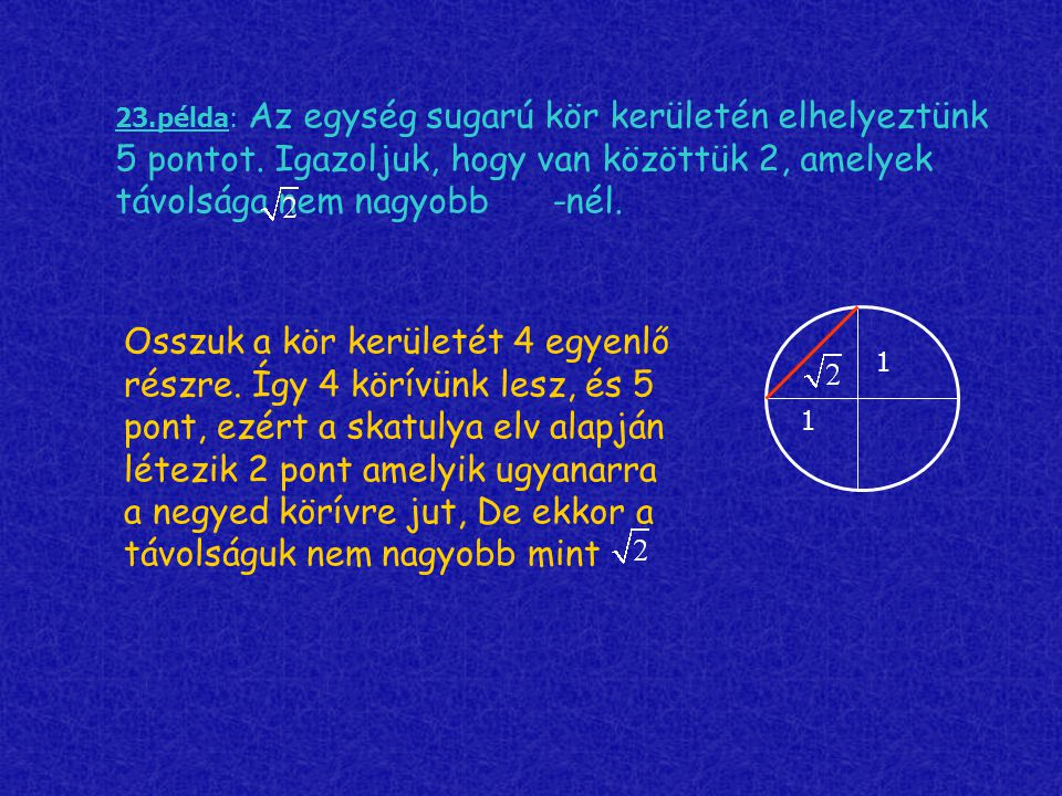 23.példa: Az egység sugarú kör kerületén elhelyeztünk 5 pontot. Igazoljuk, hogy van közöttük 2, amelyek távolsága nem nagyobb -nél. Osszuk a kör kerül