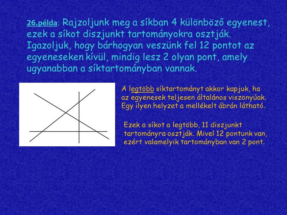 26.példa: Rajzoljunk meg a síkban 4 különböző egyenest, ezek a síkot diszjunkt tartományokra osztják. Igazoljuk, hogy bárhogyan veszünk fel 12 pontot