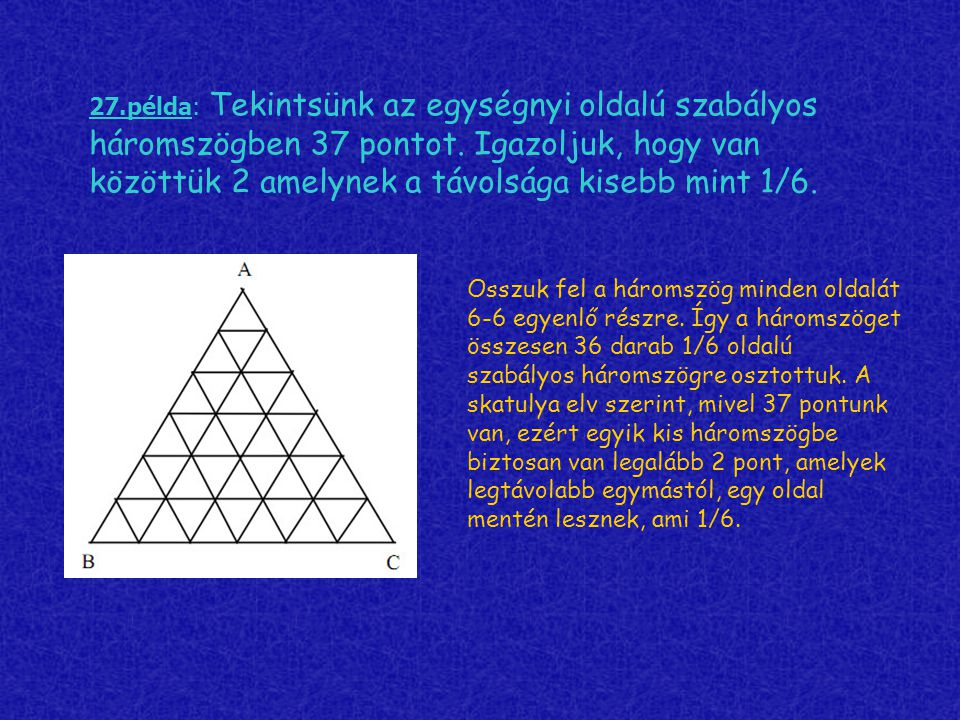 27.példa: Tekintsünk az egységnyi oldalú szabályos háromszögben 37 pontot. Igazoljuk, hogy van közöttük 2 amelynek a távolsága kisebb mint 1/6. Osszuk