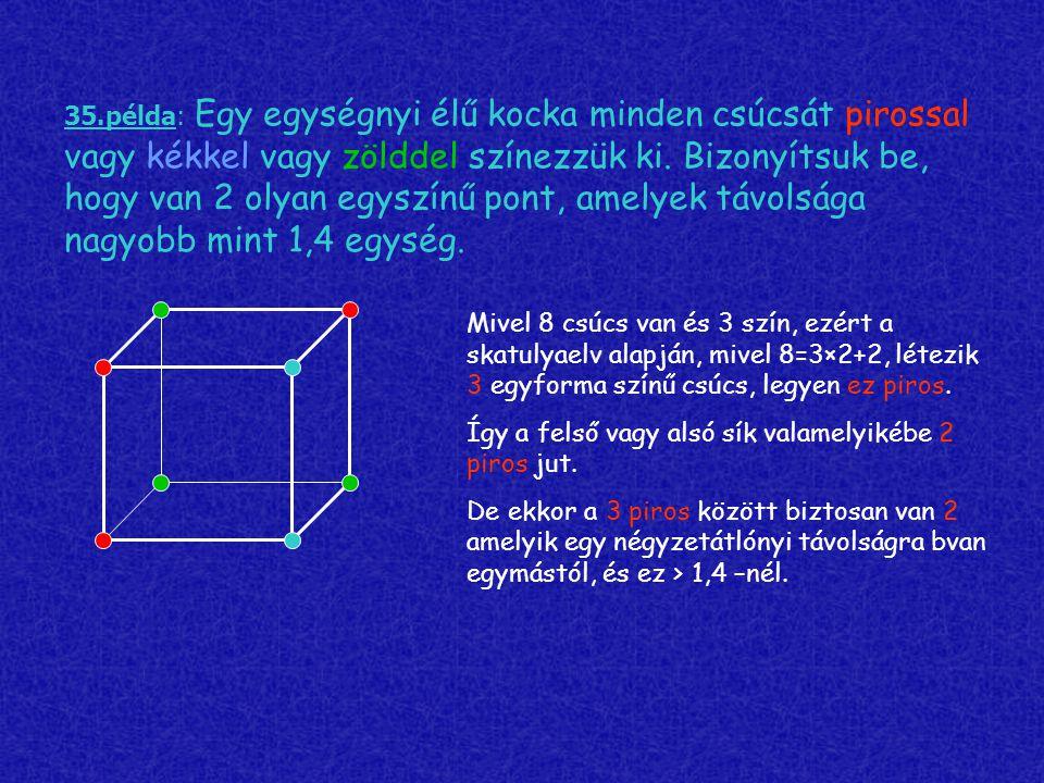 35.példa: Egy egységnyi élű kocka minden csúcsát pirossal vagy kékkel vagy zölddel színezzük ki. Bizonyítsuk be, hogy van 2 olyan egyszínű pont, amely