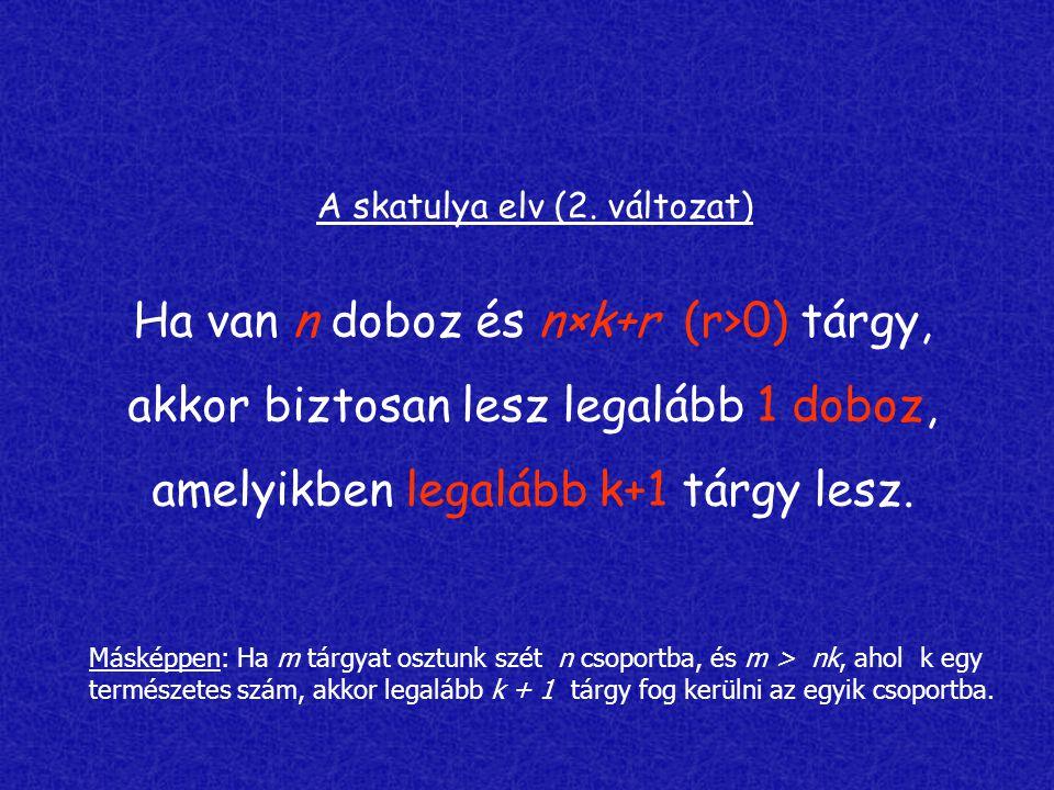 A skatulya elv (2. változat) Ha van n doboz és n×k+r (r>0) tárgy, akkor biztosan lesz legalább 1 doboz, amelyikben legalább k+1 tárgy lesz. Másképpen: