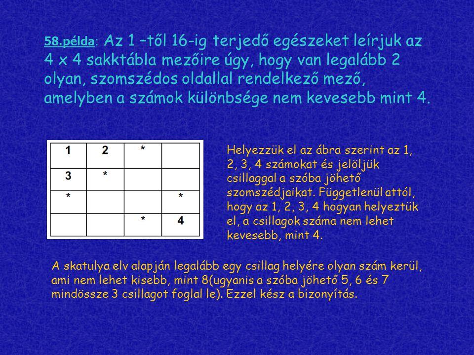 58.példa: Az 1 –től 16-ig terjedő egészeket leírjuk az 4 x 4 sakktábla mezőire úgy, hogy van legalább 2 olyan, szomszédos oldallal rendelkező mező, am