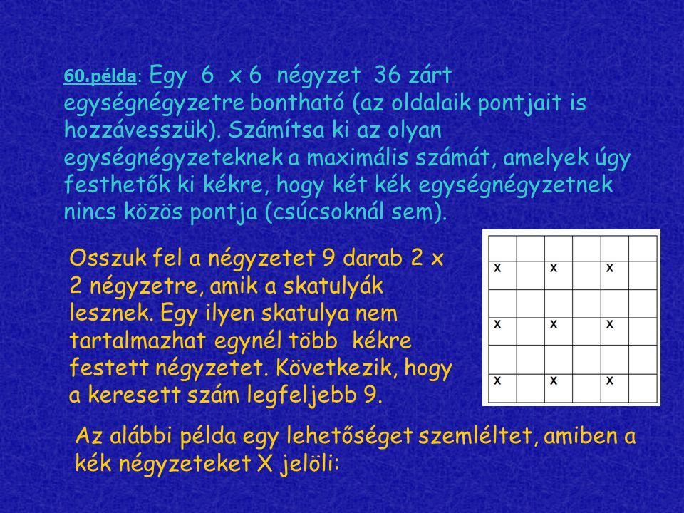 60.példa: Egy 6 х 6 négyzet 36 zárt egységnégyzetre bontható (az oldalaik pontjait is hozzávesszük). Számítsa ki az olyan egységnégyzeteknek a maximál