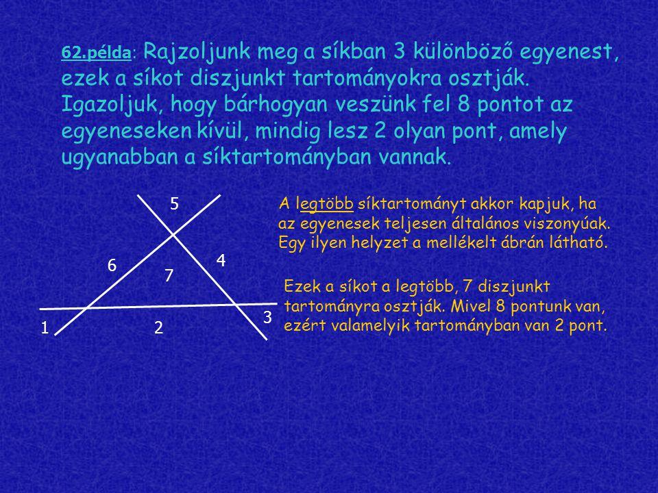 62.példa: Rajzoljunk meg a síkban 3 különböző egyenest, ezek a síkot diszjunkt tartományokra osztják. Igazoljuk, hogy bárhogyan veszünk fel 8 pontot a