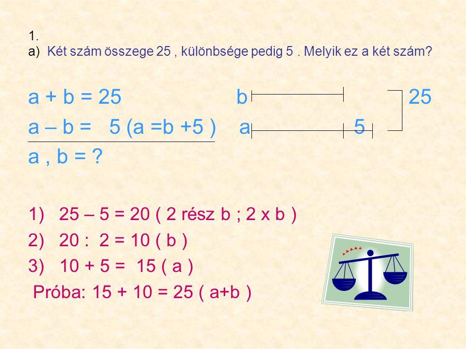 1. a) Két szám összege 25, különbsége pedig 5. Melyik ez a két szám.