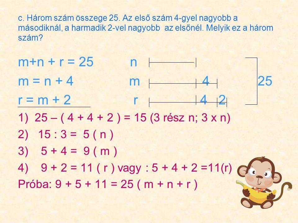 c. Három szám összege 25.