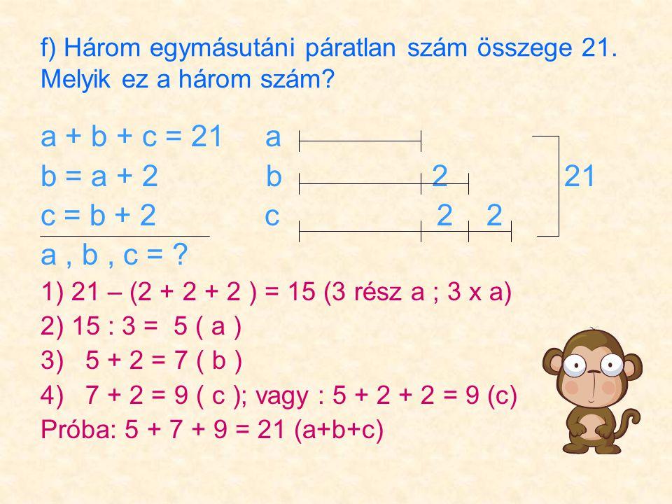 f) Három egymásutáni páratlan szám összege 21. Melyik ez a három szám.