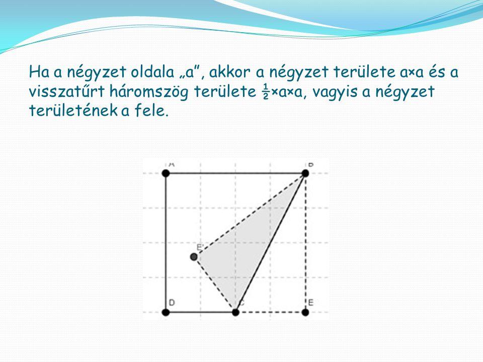 """Ha a négyzet oldala """"a"""", akkor a négyzet területe a×a és a visszatűrt háromszög területe ½×a×a, vagyis a négyzet területének a fele."""