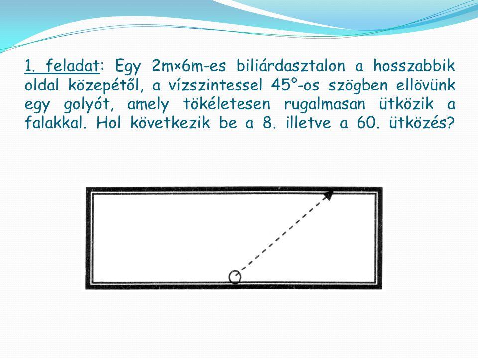 1. feladat: Egy 2m×6m-es biliárdasztalon a hosszabbik oldal közepétől, a vízszintessel 45°-os szögben ellövünk egy golyót, amely tökéletesen rugalmasa