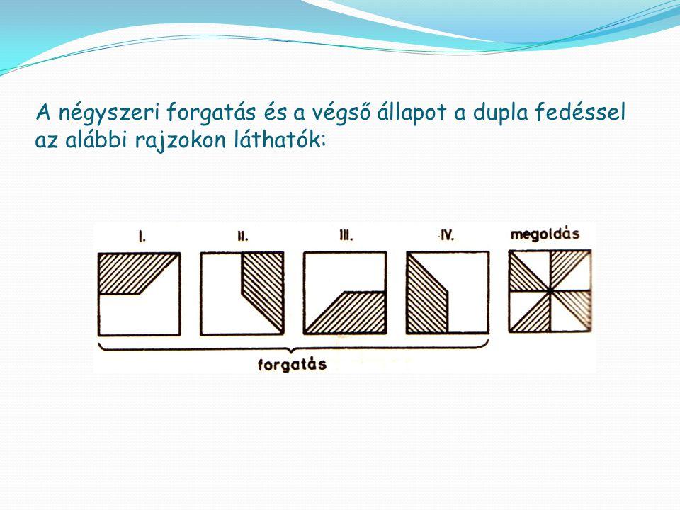 A négyszeri forgatás és a végső állapot a dupla fedéssel az alábbi rajzokon láthatók: